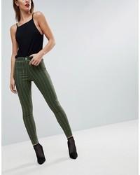 Темно-зеленые джинсы скинни в вертикальную полоску от ASOS DESIGN