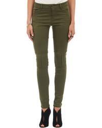 Темно-зеленые джинсы скинни