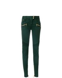 Темно-зеленые джинсы скинни от Balmain