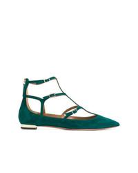Темно-зеленые замшевые балетки от Aquazzura