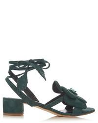Темно-зеленые замшевые босоножки на каблуке