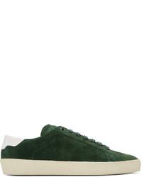 Темно-зеленые замшевые низкие кеды