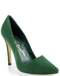 Темно-зеленые замшевые туфли
