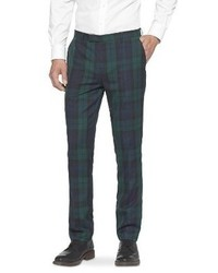 Темно-зеленые классические брюки в шотландскую клетку