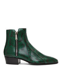 Темно-зеленые кожаные ковбойские сапоги