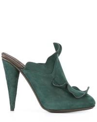 Темно-зеленые кожаные сабо от Fendi