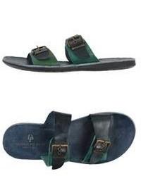 Темно-зеленые кожаные сандалии