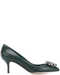 Темно-зеленые кожаные туфли от Dolce & Gabbana
