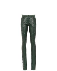 Темно-зеленые кожаные узкие брюки