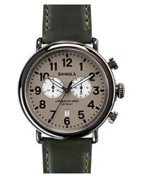 Темно-зеленые кожаные часы