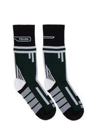 Мужские темно-зеленые носки с принтом от Prada