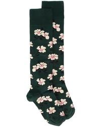Женские темно-зеленые носки с цветочным принтом от Marni