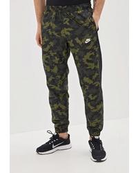 Мужские темно-зеленые спортивные штаны с камуфляжным принтом от Nike
