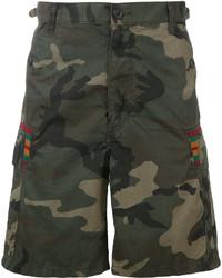 Мужские темно-зеленые хлопковые шорты с принтом от Facetasm