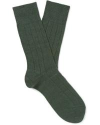 Мужские темно-зеленые шерстяные вязаные носки