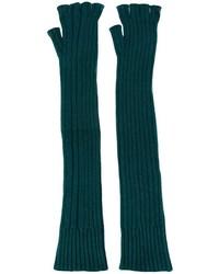 Темно-зеленые шерстяные длинные перчатки от Maison Margiela