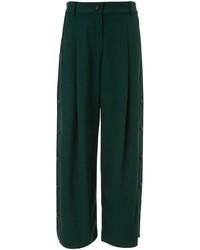 Темно-зеленые широкие брюки
