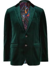 Темно-зеленый бархатный пиджак