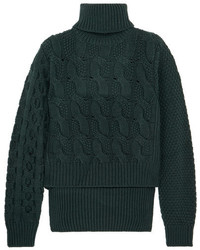Темно-зеленый вязаный вязаный свитер