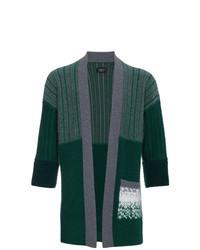 Мужской темно-зеленый вязаный открытый кардиган от Curieux