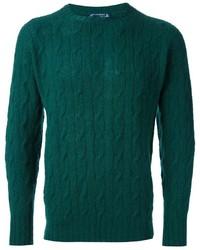 Темно-зеленый вязаный свитер