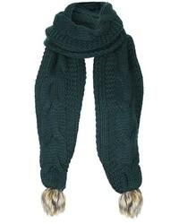 Темно-зеленый вязаный шарф