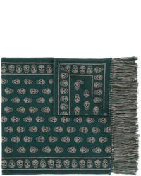 Женский темно-зеленый вязаный шарф от Alexander McQueen