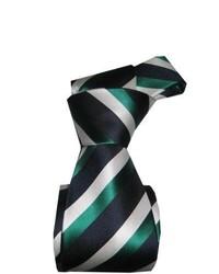 Темно-зеленый галстук в вертикальную полоску