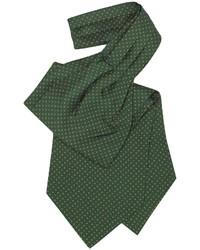 Темно-зеленый галстук в горошек