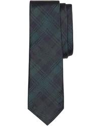 Темно-зеленый галстук в шотландскую клетку