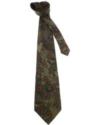 Темно-зеленый галстук с принтом