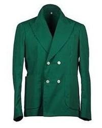 Темно-зеленый двубортный пиджак