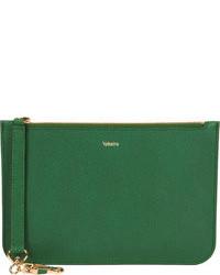 Темно-зеленый кожаный клатч