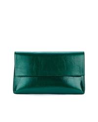 Женский темно-зеленый кожаный клатч от Christian Wijnants