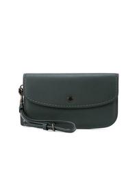 Темно-зеленый кожаный клатч от Coach