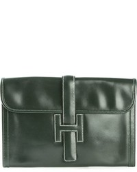 Темно-зеленый кожаный клатч от Hermes