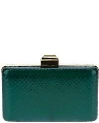 Женский темно-зеленый кожаный клатч от Lanvin