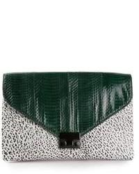 Темно-зеленый кожаный клатч от Loeffler Randall