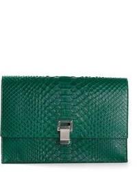 Женский темно-зеленый кожаный клатч от Proenza Schouler