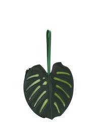 Женский темно-зеленый кожаный клатч от Sarah Chofakian