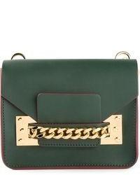 Женский темно-зеленый кожаный клатч от Sophie Hulme