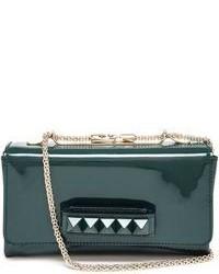Женский темно-зеленый кожаный клатч от Valentino Garavani