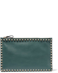 Темно-зеленый кожаный клатч от Valentino