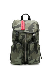 Темно-зеленый кожаный рюкзак с камуфляжным принтом