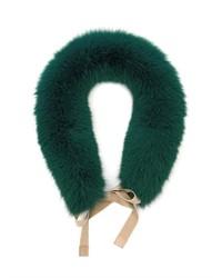 Темно-зеленый меховой шарф