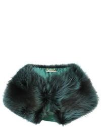 Женский темно-зеленый меховой шарф от Alberta Ferretti