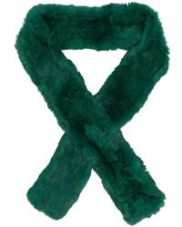 Женский темно-зеленый меховой шарф от Yves Salomon