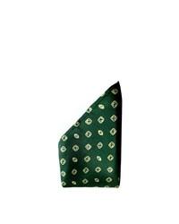 Темно-зеленый нагрудный платок в горошек