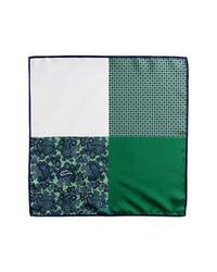 Темно-зеленый нагрудный платок с принтом