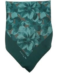Темно-зеленый нагрудный платок с принтом от Kiton